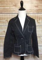 Liz Claiborne Women's Black Denim Blazer Jacket Size 4