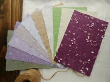 10 Sheets of Handmade Paper - Assortment of Color - 8.5 in x 5.5 in sheets