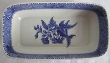 "The Spode Blue Room Collection Camilla 8"" Cranberry Rectangular Dish Bowl Floral"