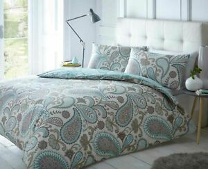 Paisley Teal Super King Size Soft Duvet Cover Set With Pillowcases