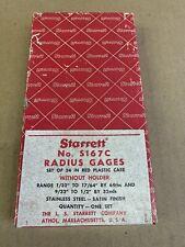 Starrett Stainless Steel Radius Gage Set Machinist Tool With Case Amp Box No S167c