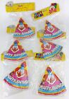 30 BIRTHDAY PARTY HATS ELASTIC CHIN STRAP CLOWN BLUE RED YELLOW PINK