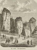 Blick auf die Extersteine mit Besuchern als Staffagefiguren, 19. Jh., Stahlstich