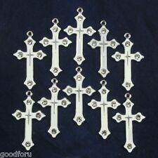 Lot Wholesale Rhinestone 10pcs White Cross Metal Charm Pendants Jewelry Making
