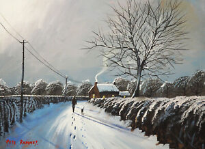 Pete Rumney Art Hand Painted Canvas Art Winter Snow Walking the Dog Footsteps