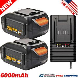 For WORX 20V 6.0Ah MAX Li-ion Battery 20Volt WA3520 WA3525 WA3575 WG151s Charger