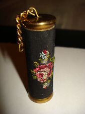 ANTIQUE GILD BRASS NEEDLE CASE RUSSIAN EMBROIDERED ROSES NEEDLE CASE