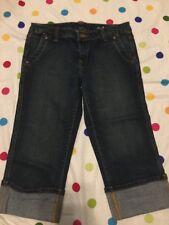 Women's Macy's Seven 7 Premium Denim Capri Pants Size 29 Dark Wash Cuffed Jeans