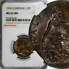 Great Britain Edward VII Bronze 1910 1/2 Penny NGC MS62 BN LAST YEAR KM# 793.2