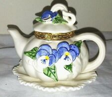 Mud Pie Ceramic White with Pansies Teapot 1998 trinket box
