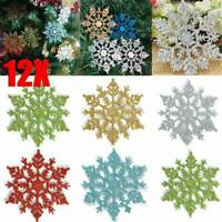 12PCS XMAS Ornaments Festival Decoration Glitter Snowflake Christmas Tree Decor