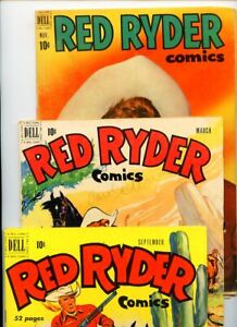 Red Ryder Comics #86, #92, and #100 Dell Publications Lot of 3 Books