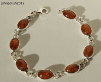 Beautiful Baltic Amber Oval Bracelet on Silver 925
