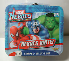 New MARVEL Heroes Unite! CARD & Dice GAME Metal Box w/ Handle Ages 4+ 2-4 player