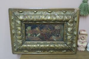 Antique Oil on Panel Board Painting Portrait Figures Framed