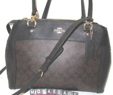 Coach F26140 Large Brooke Signature Carryall Satchel Black & Brown Handbag NWT