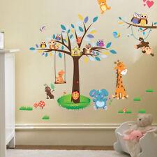 Wandtattoo Tiere Kinderzimmer Bär Eule Baum Baby Sticker Aufkleber Junge Sticker