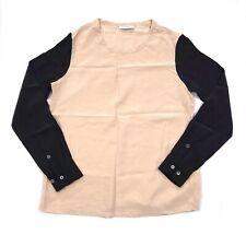 Equipment Femme Cream Black Color Block Liam Two Tone Silk Blouse Size XS *read