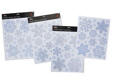 Natale Argento e Blu Vetrofanie Fiocco di Neve Scintillio (PM14)