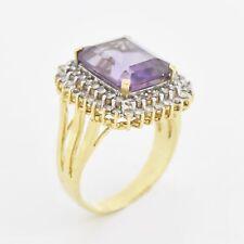 14k Yellow & White Gold Estate Amethyst And Diamond Gem Ring Size 7