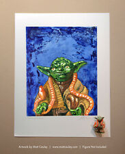 Star Wars YODA JEDI MASTER Vintage Kenner Action Figure ORIGINAL ART PRINT 3.75