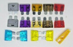 TOURING CARAVAN Pack of 14 std blade fuses  2x  2 3 5 7.5 10 15 20Amp & PULLER