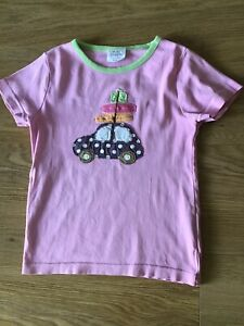 MINI BODEN GIRLS PINK APPLIQUE T-SHIRT - Holiday Car Suitcases AGE 5-6 YEARS