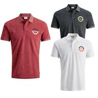 Jack & Jones Mens Polo Shirt Plain Shirts Pique Golf Work Cotton Casual Tee Tops