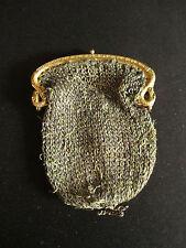 ancienne bourse aumônière serpentine tissu et bronze doré fin XIX ème