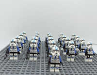21Pcs Minifigures Star Wars Blue Clone Trooper 501st Clone Army  Lego MOC Kids
