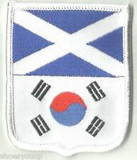 SCOTLAND & SOUTH KOREA FRIENDSHIP FLAGS WORLD EMBROIDERED PATCH BADGE