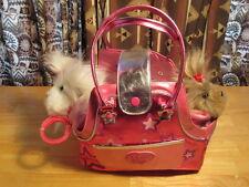 Girl's Battat PUCCI PUPS Travel Bag & 2  Pups  w/Collar Plush 5 Years +