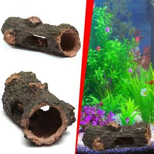 Fish Tank Ornament Hollow Trunk Hole Log Tree Hide Tunnel Cave Aquarium Decor