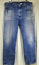 Levis 501 Mens Jeans Button Fly Faded Grunge Distressed Blue 42x36 (39x33)