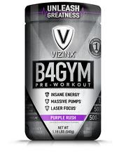 VIZINX B4GYM Purple Rush #1 Pre-Workout Formula with BCAA's Pump & Focus Factors