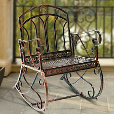 Outsunny Metal 1 Seater Garden Outdoor Rocking Chair Vintage Style Bronze Patio