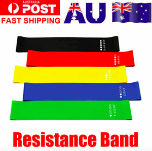 Resistance Bands Power Heavy Strength Exercise Fitness Gym Crossfit Yoga AU