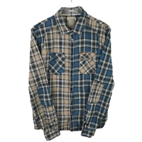 Guess Mens Utility Button Down Shirt Size XL Plaid Long Sleeve Elbow Patch