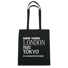New York, LONDON, PARIS, TOKYO bilderstöckchen - Bolsa de yute - Color: Negro
