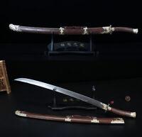 Handmade Rosewood Chinese Sword Qing Dao Damascus Steel Blade Sharp Broadsword
