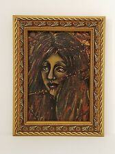Lilith - Original 5x7 Framed Acrylic Painting of a Vampire Lady
