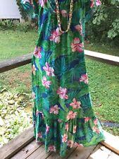 Vintage Hilo Hattie Hawaiian Long Dress Hawaiian Made Usa Sz Large Euc