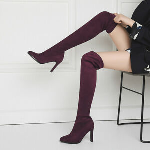 Womens Clubwear Shoes Faux Suede High Heels Over Knee Socks Boots US Size 11