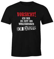Herren T-Shirt Ich bin zu fett um wegzurennen ich kämpfe Fun-Shirt Spruch-Shirt