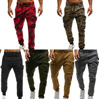 Mens Jogger Pants Sweatpants Track Slim Fit Workout Gym Basic Sports Camo Cargo