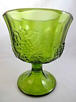 Vintage 1970s Avocado Green Glass Compote Candy Dish Footed Vase Grapes Vines
