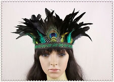 Peacock Feather Headband Halloween Party Hat Crown Carnival Feather Headgear