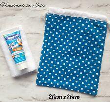 Girls Ladies Boys WHITE POLKA DOT BLUE Drawstring Washbag Cotton/Lined