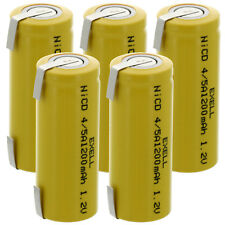 5x Exell 4/5A 1.2V 1200mAh NiCD Rechargeable Batteries with Tabs FAST USA SHIP