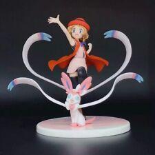 New Pokemon Trainer Serena and Eevee Sylveon 13cm PVC Anime Figure Model Statue